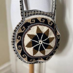 Handbags - BoHo Chic Tan Round Circle Crossbody knit purse